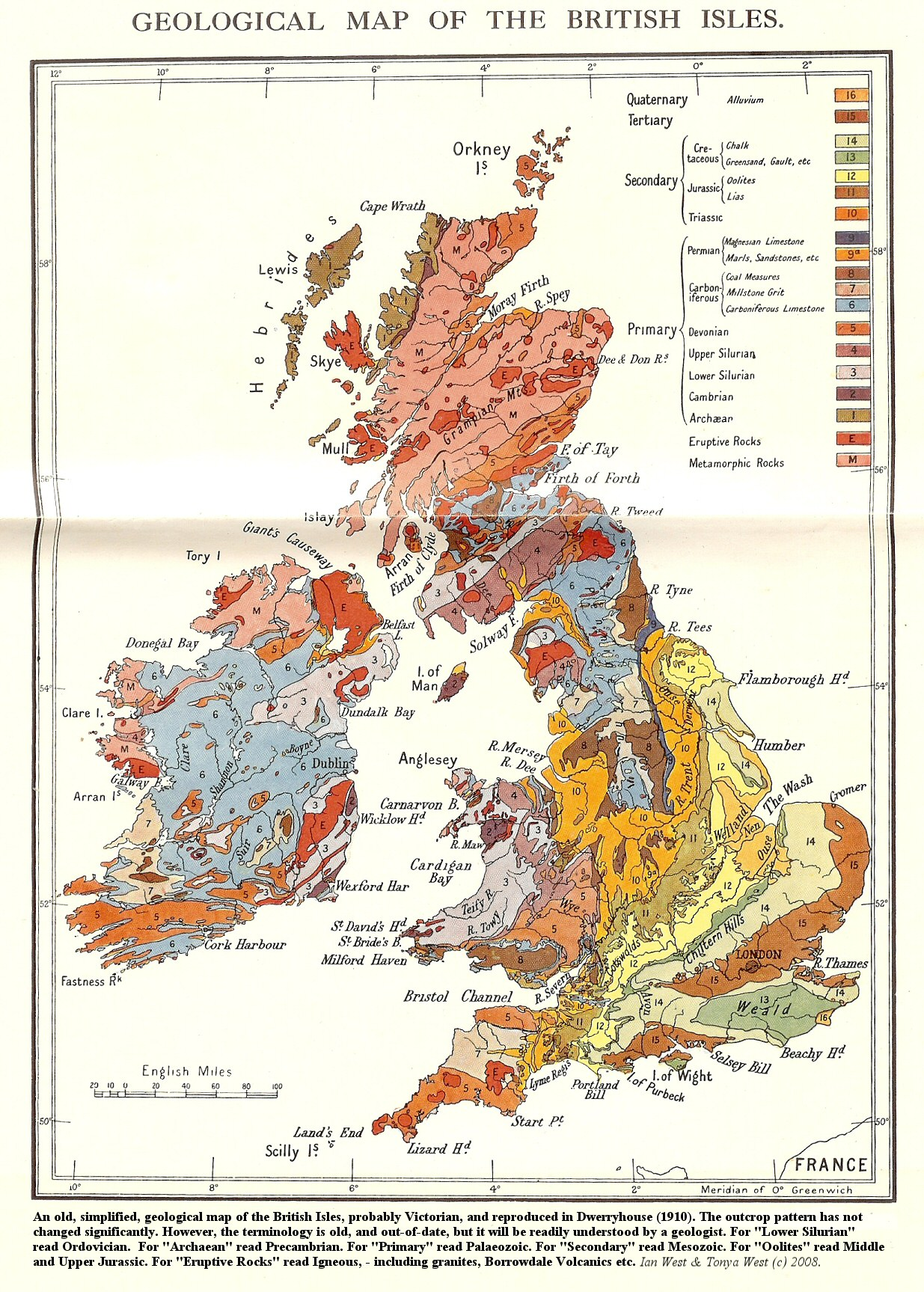 Map Of England Showing Cornwall.Geology Of Great Britain Uk Introduction And Maps By Ian West